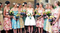 Different color floral print bridesmaid dresses