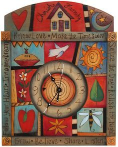 Sticks creates this artistic one-of-a-kind wall clock constructed of hard wood. Hand drawn whimsical designs are burnt in, and then painted. * Size: x * Signed, Dated Anything you can i Sticks Furniture, Clock Painting, Artistic Installation, Paperclay, Hand Painted Furniture, Decoupage, Whimsical, Projects To Try, Artisan
