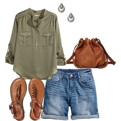 Denim Shorts- Plus Size Outfit by boswell0617 on Polyvore featuring H&M, American Eagle Outfitters, Charlotte Russe and PolyvorePlus