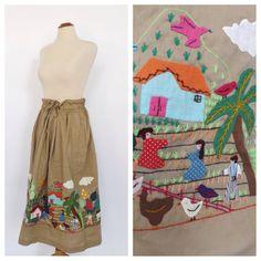Vintage 1960s 1970s Folk Skirt Tan Embroidered Novelty Print Boho Skirt Hippie size Medium Large Folk Traditional Cotton Circle Skirt