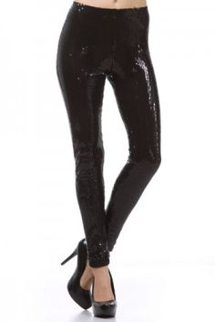 Plus Size Black Sequin Leggings, Sequin Pant Bottoms | Clothes and ...