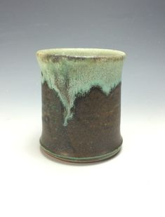 Sea Foam Green Teal And Brown Ceramic Tumbler, Clay Handless Mug, Unique  Wine Goblet, Modern Kitchen Home Decor, Tea Wine Goblet