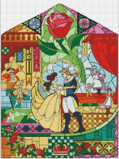 Beauty and the Beast Stained Glass Cross Stitch  by StitchandaSong only $5 this is gorgeous!