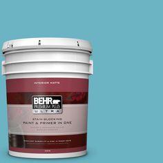 BEHR Premium Plus Ultra 5 gal. #530D-5 Riverside Blue Flat/Matte Interior Paint