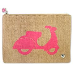 """Vespa Jute Pouch  $38.00    If all you need is your ID and a few cards, this is your bag.    •Natural Jute  •Zipper closure with charm  •Screen printed Jet Set patterns    Available in 4 chic styles  •Cool Blue Trunks  •Hot Pink Scooter  •Rich Red Sailboat  •Fiery Orange Sun    • 100% woven Jute  • lined interior  • zip closure  • 10"""" wide x 7"""" deep"""