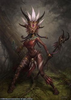 """The female """"wizard"""" or """"witch doctor"""" class in Diablo 3 falls into the trope. I play a wizard in Diablo my favourite character. Foto Fantasy, Fantasy World, Dark Fantasy, Fantasy Art, Fantasy Makeup, Witch Doctor, Doctor Mask, Fantasy Characters, Female Characters"""