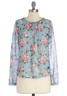 Give Me a Speckle Top in Floral. Spur-of-the-moment plans have you searching for a quick, cute look? #blue #modcloth