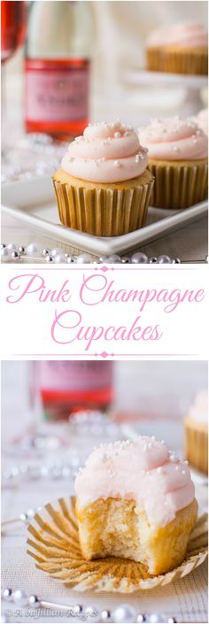Toast to the New Year with these sweetly decadent Pink Champagne Cupcakes!