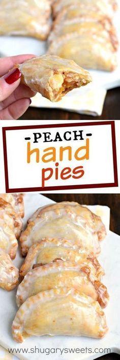 Shugary Sweets Easy Baked Peach Hand Pies Recipe and Video Dessert is ready in 30 minutes with these Glazed Peach Hand Pies! The flaky crust and spicy cinnamon filling are the perfect combo in a hand pie, plus they're baked not fried! Dessert Simple, Köstliche Desserts, Dessert Recipes, Plated Desserts, Italian Desserts, Lemon Desserts, Recipes Dinner, Peach Pie Filling, Apple Filling