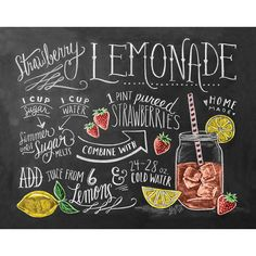 Recipe Print - Summer Kitchen Print - Strawberry Lemonade Recipe - Chalkboard Art - Hand Drawn Chalk Art (115 CNY) found on Polyvore