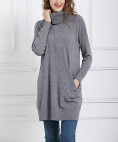 Simply Couture Gray Pocket-Accent Turtleneck Sweater Tunic - Plus   zulily