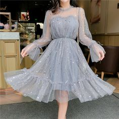 Grey Party Dresses, Sequin Prom Dresses, Sequin Dress, Mesh Dress, Dress Party, Lace Dress, Dresses Dresses, Gray Dress, Dresses Online