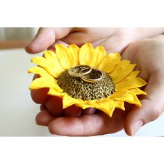 Yellow Sunflower ring Dish, holder Ring bearer, Wedding rings storage,... ($35) ❤ liked on Polyvore featuring home, home decor, yellow home decor and yellow home accessories