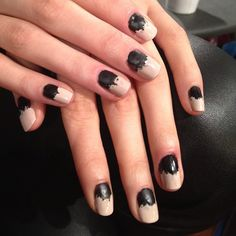 Gorgeous multi-textured, distressed nails by @butterlondon at @KaelenNYC. #NYFW NYFW
