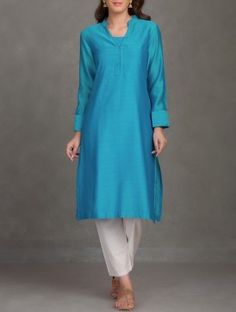 Turquoise Hand Embroidered Chanderi Kurta with Block Printed Cotton Lining-Set of 2
