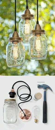 #EcoDeco & #diy mason jar lights #diy #masonjar #lights http://www.kumbuya.com/diy-for-home-fashion/ #Tarros de cristal reutilizados como #lámparas
