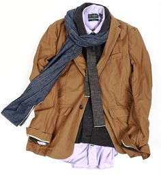 9833107cac8 white shirt, dk. brown polartec vest, toast twill jacket, blue