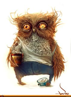 This what I look like in the morning because I am a night owl. <<<<<<<< partly true- if the owl was female XD Gif Animé, Portrait Art, The Funny, Character Design, Funny Character, Funny Pictures, Funny Images, Monday Pictures, Animal Pictures