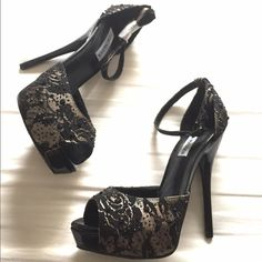 The perfect holidays heels Hang up your usual party heels and switch to this sexy style. Steve Madden's brings you a satin fabric adorned with black lace and beading details at the vamp and sleek ankle strap. You'll be simply irresistible and command the room with the skinny 5 inch heel and 1 inch platform. Brand new in box!!! Steve Madden Shoes
