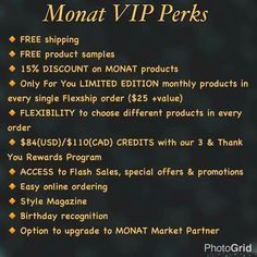 Become a VIP today and save money! Monat actually works getting healthier, thicker and vibrant hair! Try it now, 30 day money back guarantee.  www.marandafox.mymonat.com Contact me  mefox888@outlook.com