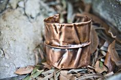 Copper Fold Form Cuff by speckledfeather on Etsy, $45.00
