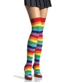 "Meia 7/8 Leg Avenue 6606 ""Rainbow striped"" :: lingerie.com.br"