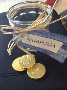 glass for Ambrosia and chocolate coins for drachma! Festa Do Percy Jackson, Percy Jackson Birthday, Rick Riordan, Greece Party, Sweet Sixteen Parties, August Birthday, Paris Party, Percabeth, Heroes Of Olympus