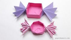 With this tutorial you can learn how to make a round origami candy box, this time the 'fans' of the candy are pointy, or you can leave them straight. Origami Candy Box, Origami Paper Art, Diy Origami, Diy And Crafts, Paper Crafts, Origami Fashion, Valentine Box, Candy Boxes, Paper Folding