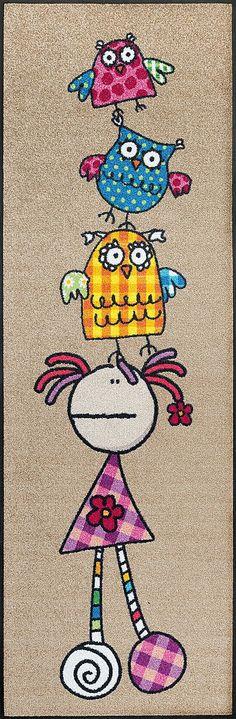 Details: Der Hingucker in jedem Kinderzimmer, Floripondia und die drei süßen Eulen wollen mit dir spielen, Original Fulanitos Lizenz-Design, Mit rutschhemmender Rückenbeschichtung, Qualität: 1,9 kg/m² Gesamtgewicht, 7 mm Gesamthöhe, Rücken 100% Nitrilgummi, Rutschhemmende Beschichtung auf der Unterseite, Flormaterial: 100% Polyamid, Wissenswertes: Waschbar bei 60° C, Trocknergeeignet bis...