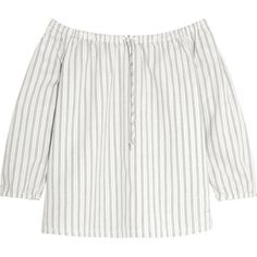 Madewell Off-the-shoulder striped cotton top (2,320 MXN) ❤ liked on Polyvore featuring tops, blouses, shirts, white, off the shoulder shirts, white shirt, white off the shoulder blouse, striped shirt and white blouse