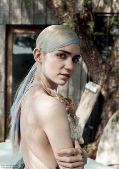 grimes white blue blonde hair Claire Boucher for pop magazine