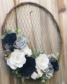 If you were to visit my home, you'd know that this custom wreath is totally my jam. The navy, greys Cute Crafts, Crafts To Do, Felt Crafts, Kids Crafts, Felt Flowers, Paper Flowers, Felt Flower Wreaths, Fabric Flowers, Craft Night