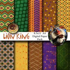 Disney Lion King Inspired 8.5x11 A4 Digital Paper by monbonbon, $3.99