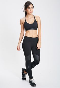 Faux Leather Paneled Workout Leggings
