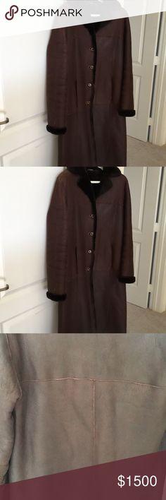 Bruno Magli shearling coat Pristine condition.  Sheep and goat skin leather. Bruno Magli Jackets & Coats