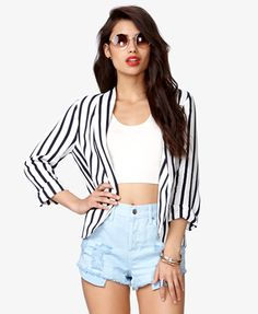 take a slight fashion risk with a pair of high-waisted light denim jean shorts, a crop top, and a large, boyfriend style blazer. If the blazer is black, try a bright colored short or crop top, or even bright jewelry! Open-Front Striped Blazer   FOREVER21 - 2036314900