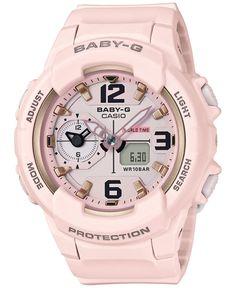 G-Shock Women's Analog-Digital Baby-g Pink Resin Strap Watch - Pink G Shock Watches, Sport Watches, Watches For Men, Analog Watches, Ladies Watches, Wrist Watches, Casio G-shock, Casio Watch, Baby G Shock