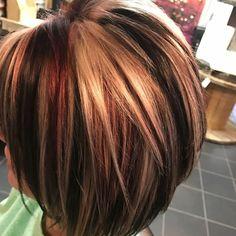 Becky Tinsley @ Steel M Hair Color And Cut, Haircut And Color, Cool Hair Color, Blonde Highlights On Dark Hair, Chunky Highlights, Medium Hair Styles, Short Hair Styles, My Hairstyle, Auburn Hair