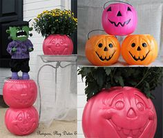 painted wood pumpkins | Painted Pumpkin Planters, Photo by: Jen @Marcia Conatser, Play Dates & Parties
