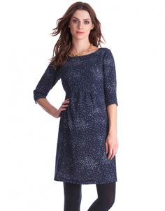 Navy Dot Woven Maternity Dress with tights