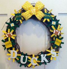 Oregon Ducks Football Wreath by DECORbyHLN on Etsy