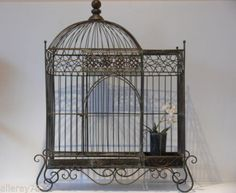 Beautiful-FRENCH-LARGE-BIRD-CAGE-WROUGHT-IRON-antique-brown-NEW-NIB Large Bird Cages, Towel Rack Bathroom, Rare Birds, Bathroom Styling, Decoration, Wrought Iron, French Antiques, Ceiling Lights, Beautiful