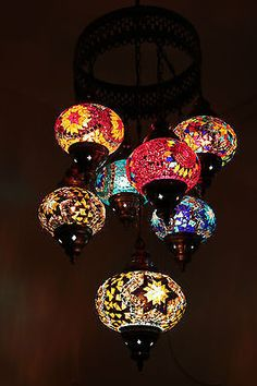 Multicolour Turkish Mosaic Hanging Lamp Light Hand Craft 6 Medium 1 Large Globe