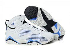 New Packaging Womens Air Jordan 7 (VII) Embroidery White Black Blue Sports Shoes Air Jordan 3, Air Jordan Shoes, Nike Air Max, Nike Kd Vi, Jordan Retro 7, Summer Sneakers, Blue Sneakers, Summer Shoes, Shoes Sneakers