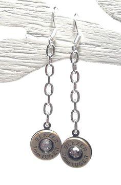 Steampunk Earrings, Steampunk Jewelry, Bullet Earrings, Mermaid Jewelry, Industrial Unique Bullet Ammo Custom Silver Chain Dangle Earrings Wedding