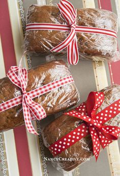 I've been wanting to make pumpkin bread with chocolate chips in it for quite some time and I thought while I was at it, I'd make some mini-loaves too. Mini-loaves make great food gifts for the holi...
