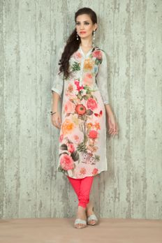 Crepe digital print kurti from #Benzerworld #Benzer #indoWesternWearForWomen #Kurtis #womenswear