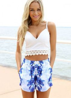 White Sleeveless V-Neck Crop Top with Lace Hemline,  Top, crop top  v-neck  lace, Chic