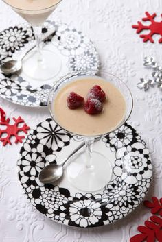 Eggnog panna cotta. All the flavours of egg nog - nutmeg, cinnamon, cream and lots of brandy - are set into a light, creamy panna cotta for a Christmas pudding with a twist.