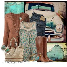 """Distressed Turqoise"" by alison-louis-ellis on Polyvore"
